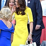 At Wimbledon, Kate Middleton Went For a Bright Colorblock Option, Which She Matched to a Structured Bag