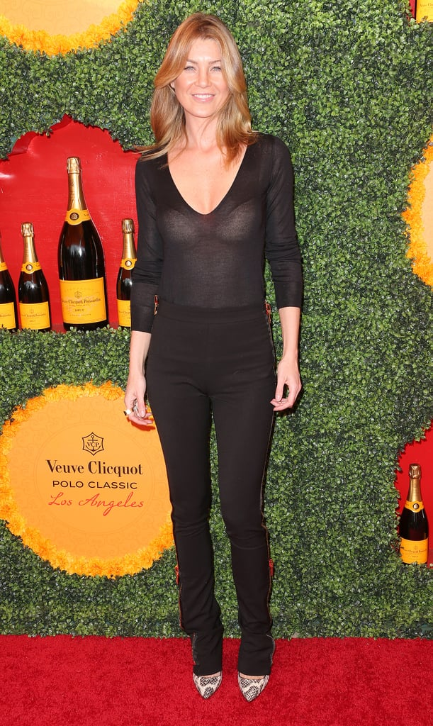 Ellen Pompeo donned a head-to-toe Tom Ford uniform, but made the sleek monochromatic outfit pop with snakeskin pumps.
