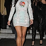 She was spotted in Paris before her wedding wearing this silver embroidered Balmain dress in May 2014.