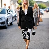 How to Style Workout Clothes: Leggings + T-shirt + Blazer + Heels