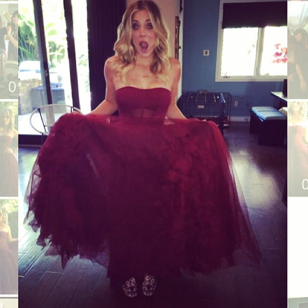 """Kaley Cuoco showed off her """"heavenly"""" Vera Wang gown before heading to the event. Source: Instagram user normancook"""
