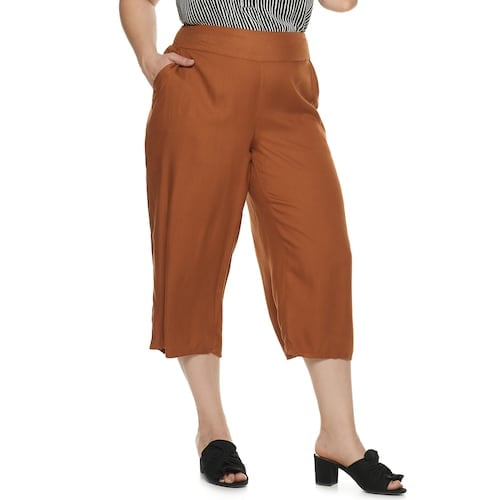EVRI Plus Size Wide-Leg Crop Pants
