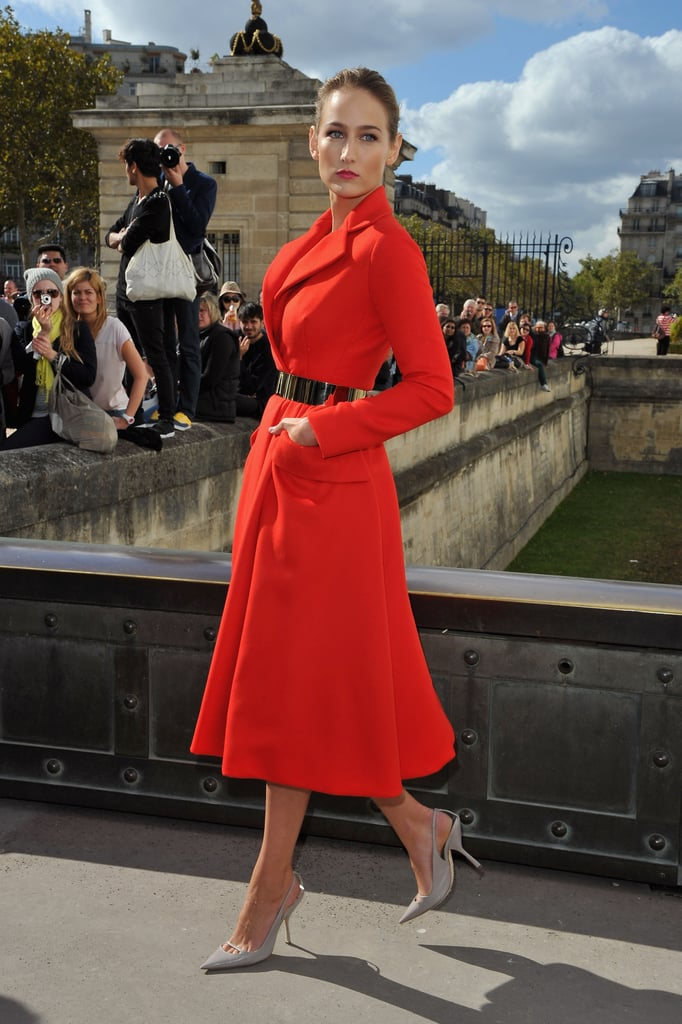 LeeLee Sobieski wore a belted coat dress.