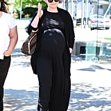 On Monday, pregnant Ginnifer Goodwin ran errands around West Hollywood, CA.