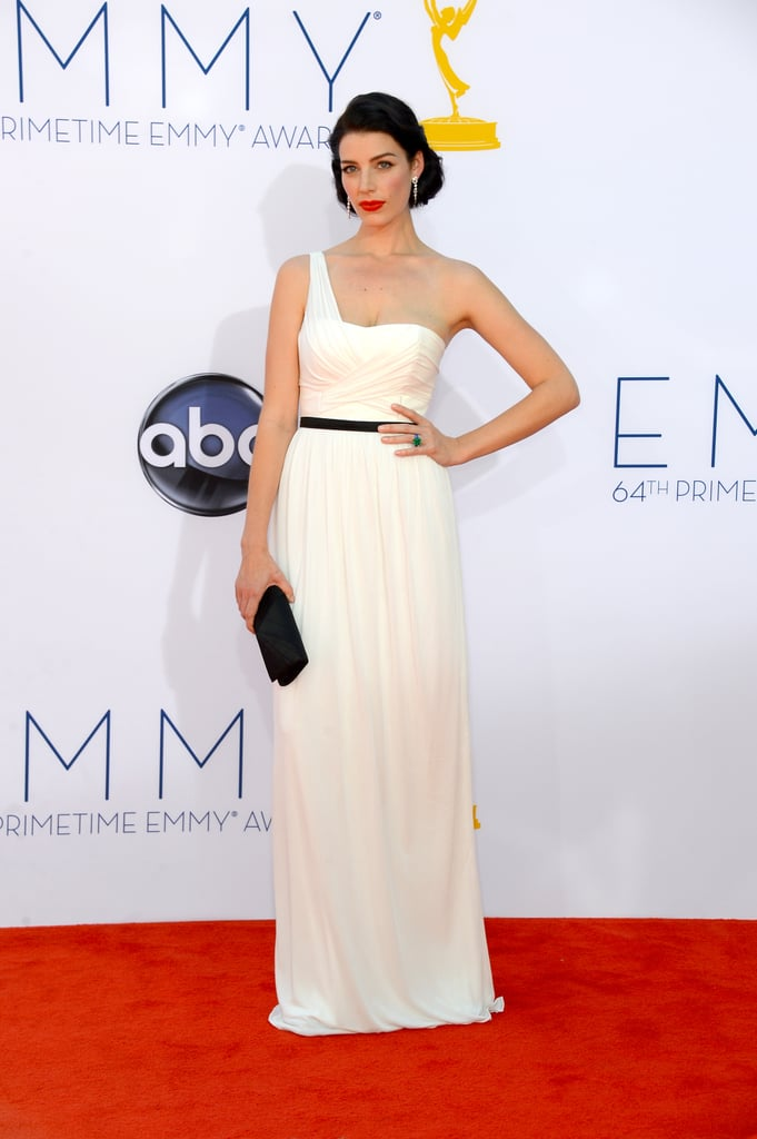 Jessica Pare Wearing a White Gown at the Emmys 2012