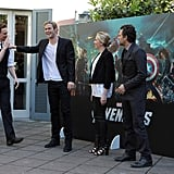Tom Hiddleston and Chris Hemsworth joked around before posing with Scarlett Johansson and Mark Ruffalo.