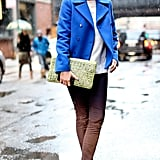 Bold blues, even on her shoes, made this look pop.