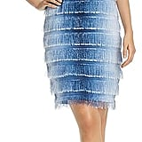 Badgley Mischka Ombré Fringe Shift Dress