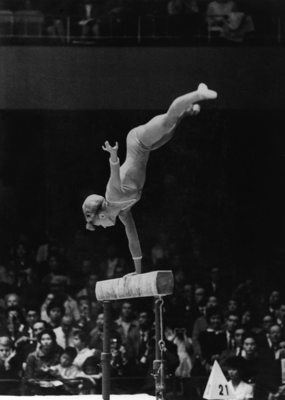 Larisa Latynina performing on balance beam