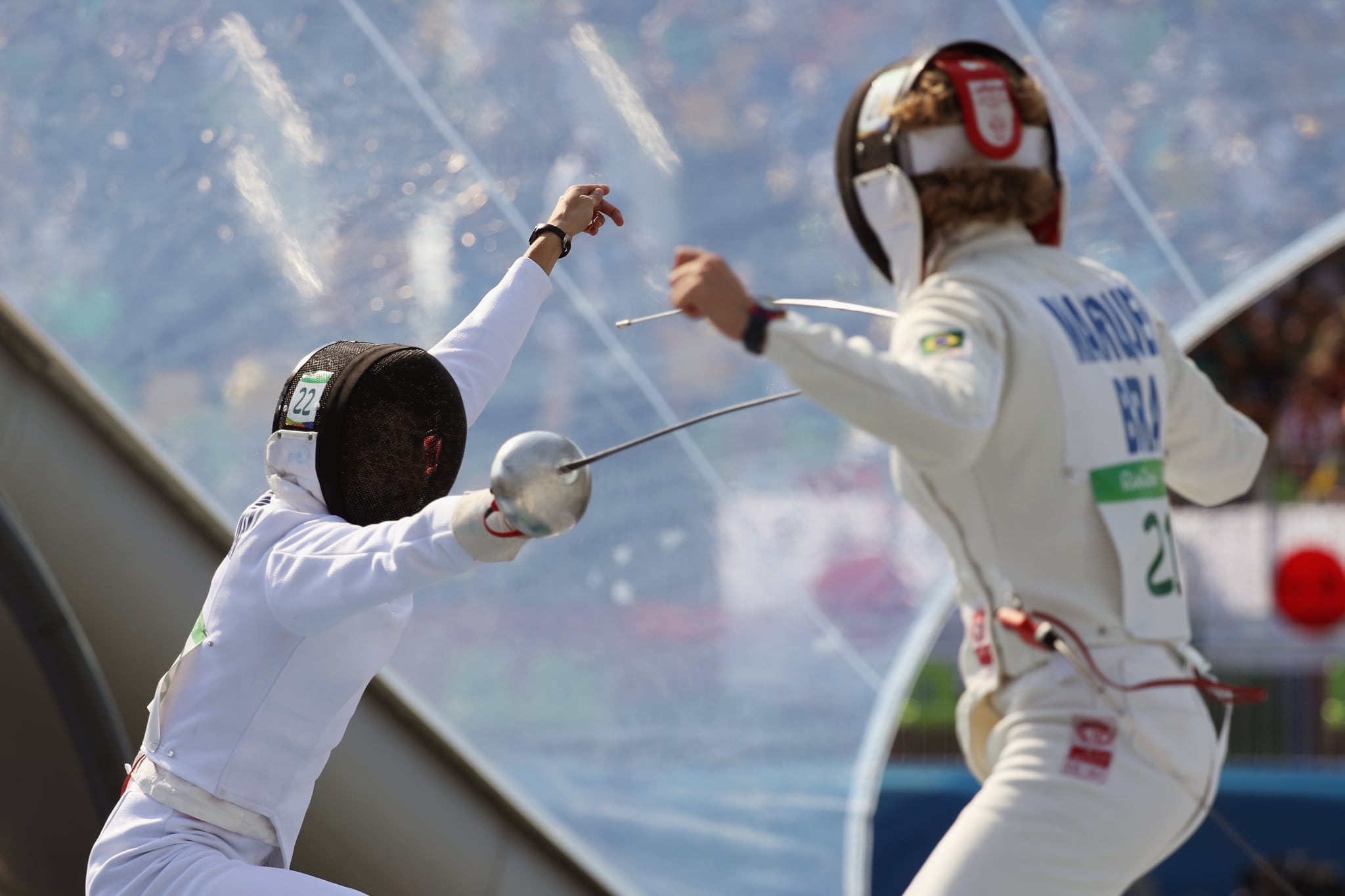 RIO DE JANEIRO, BRAZIL - AUGUST 19:  Anna Maliszewska of Poland (L) and Yane Marcia Marques of Brazil compete during the Women's Fencing Modern Pentathlon on Day 14 of the Rio 2016 Olympic Games at the Deodouro Stadium on August 19, 2016 in Rio de Janeiro, Brazil.  (Photo by Rob Carr/Getty Images)