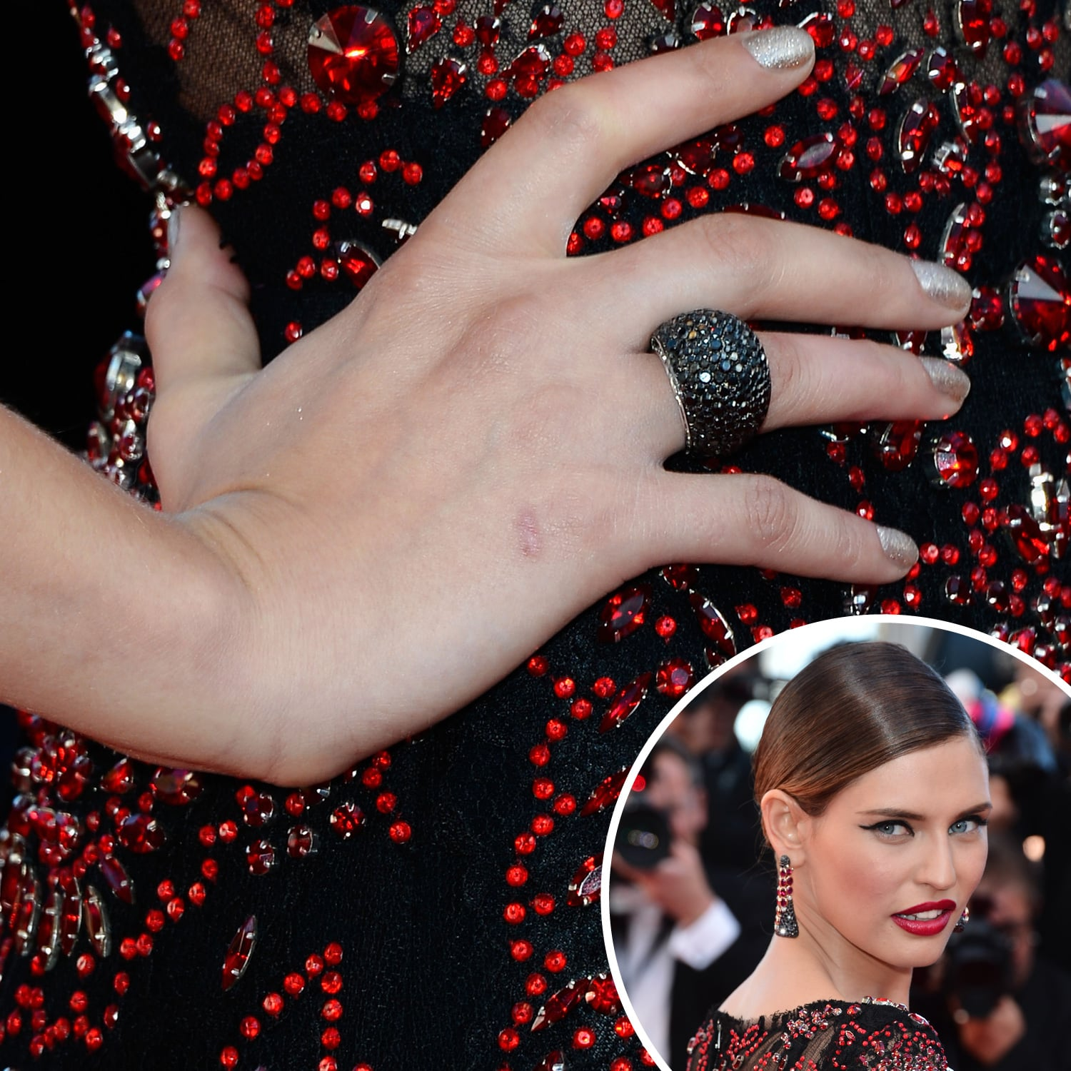 Bianca Balti was spotted in an ornate red-and-black gown, which the model accented with a sparkling silver nail polish.