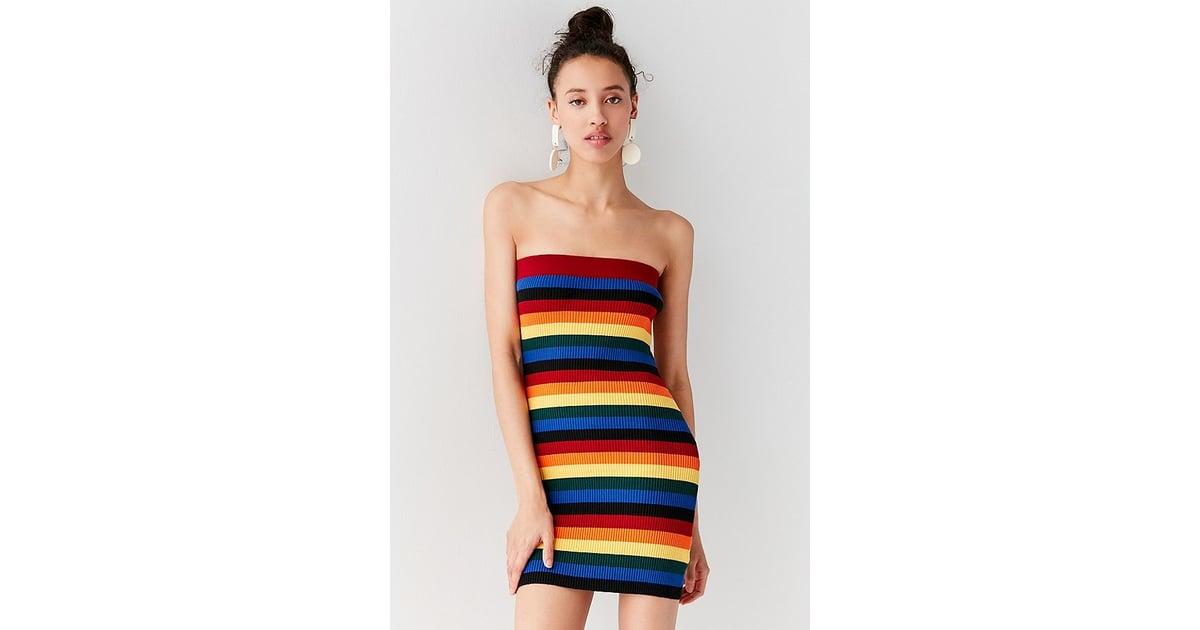 153348cfdaa7c UO Rainbow Striped Tube Mini Dress