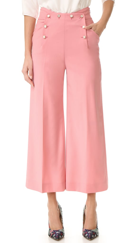 We're all about the button details on Temperly London's wide leg trousers ($695).