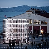 A view of Origin in front of the Herbst Pavilion at San Francisco's Fort Mason Center.