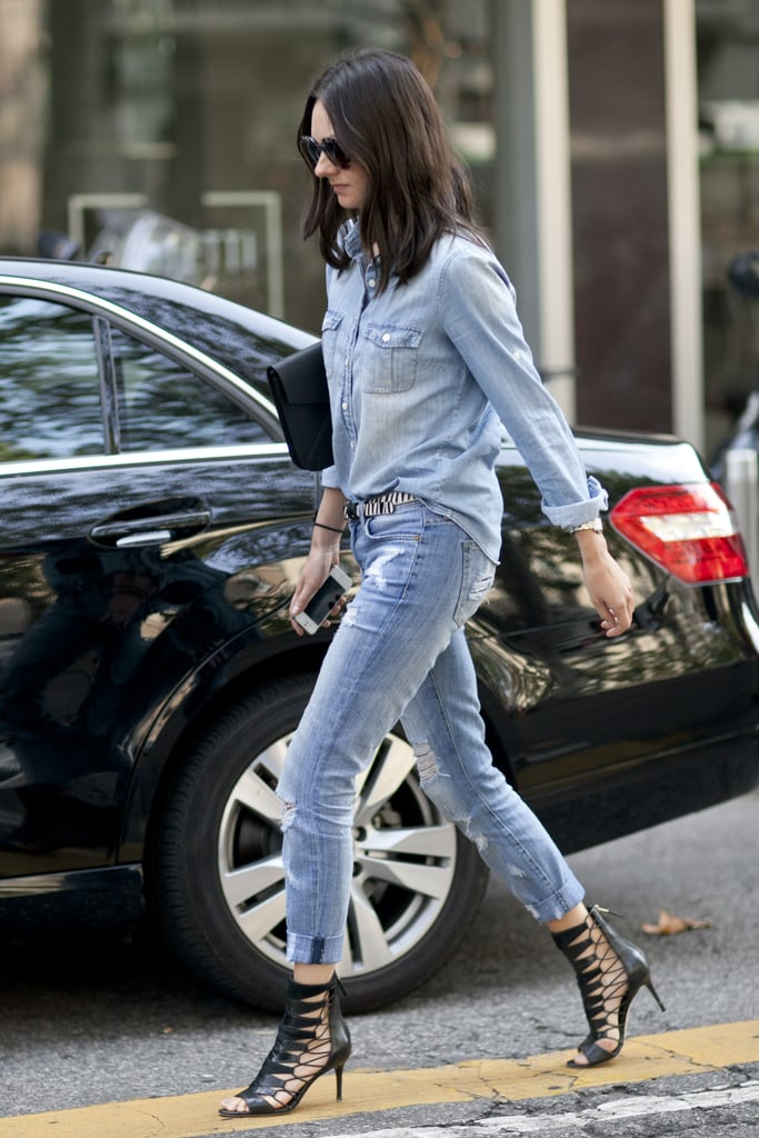 Just how do you elevate denim on denim? Don't forget your statement heels.