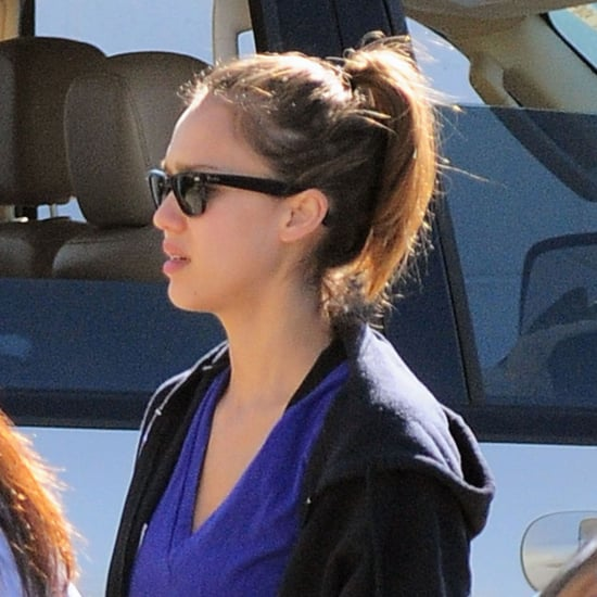Pictures of Jessica Alba at The Fitness Factory in LA With a Trainer
