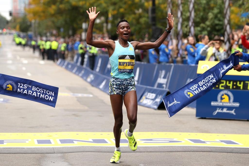 Diana Kipyogei Crosses the Finish Line at the 2021 Boston Marathon