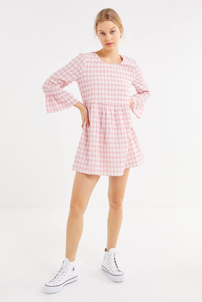 UO Seersucker Long Sleeve Mini Dress