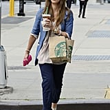Jessica Alba crossed an NYC street with a Starbucks drink in hand.