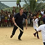 While visiting Rio do Janeiro in March 2012, Harry played cricket with local children.