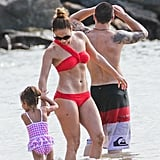 Jennifer Lopez went to the beach with Casper Smart and her kids.