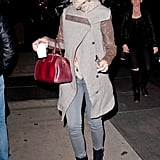 Katy Perry kept warm in boots and a coat in NYC.