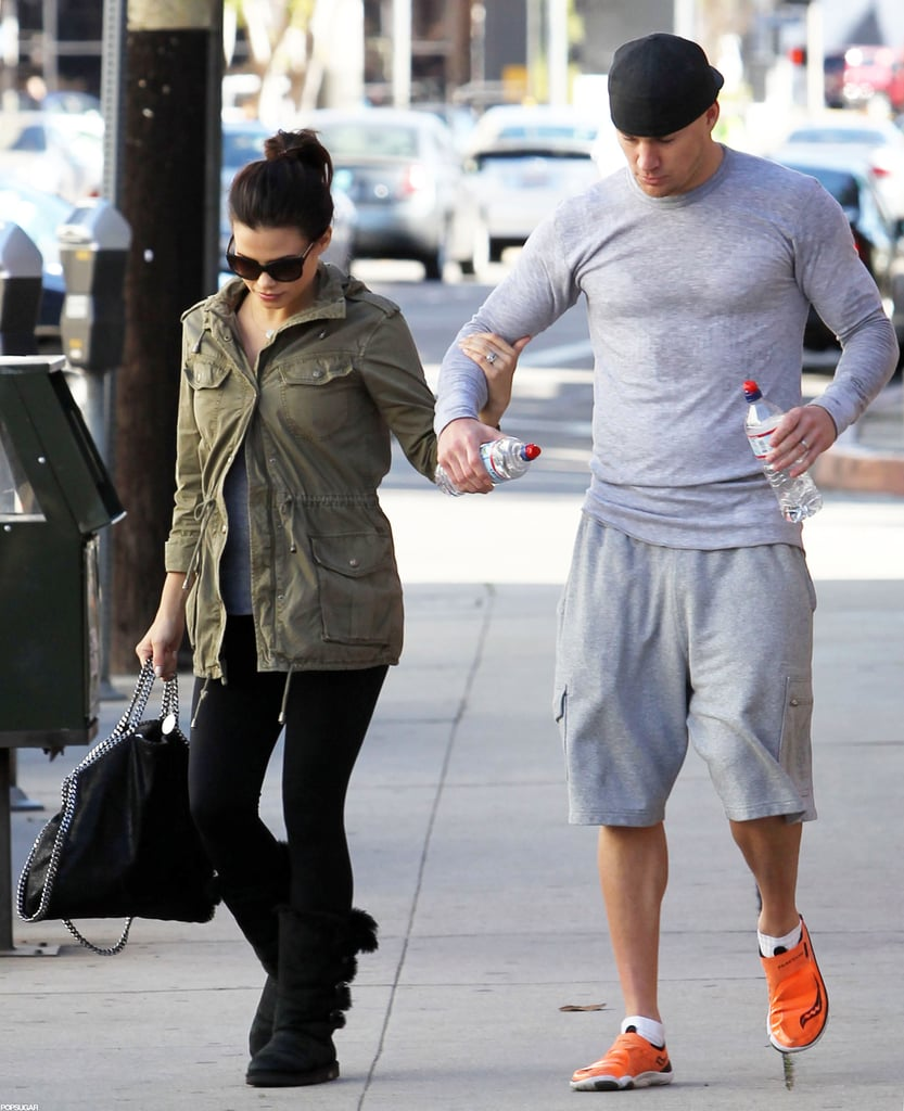 Pregnant Jenna Dewan held onto husband Channing Tatum's arm as the couple left a dance class together in LA yesterday. It appears Channing worked up a sweat during the class and he carried bottled water in both hands. The pair have been spending a lot of quality time together recently. Last week, Jenna and Channing hit the beach in Malibu for a relaxing afternoon with their dogs. As she is going through changes with her pregnancy, he is also sporting a fresh look — Channing recently shaved his head and he gave a glimpse of his new hairdo during a recent lunch date with Jenna. After clocking in couple's time, Channing is headed down to New Orleans where he will host a Super Bowl party at his bar, Saints & Sinners, on Saturday before the big game.