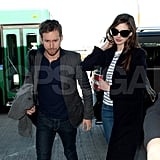 Anne Hathaway and Adam Shulman caught a flight out of LAX.