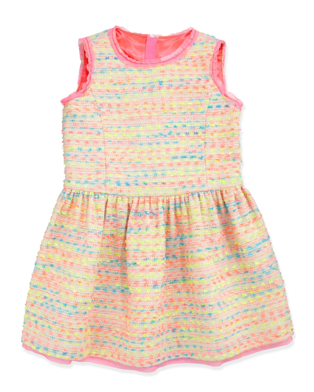 Milly Minis Neon Flecked Tweed Dress