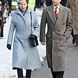 Princess Anne and Brother Prince Edward attend Christmas Day Service at Sandringham in 2009