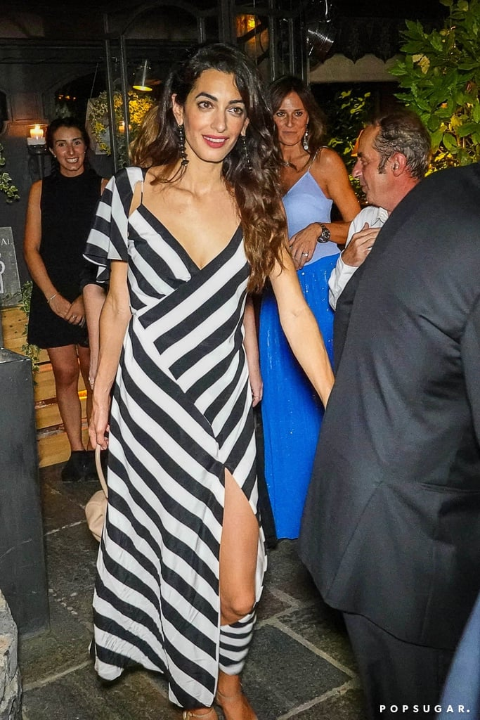 Amal Clooney Striped Dress Italy July 2018