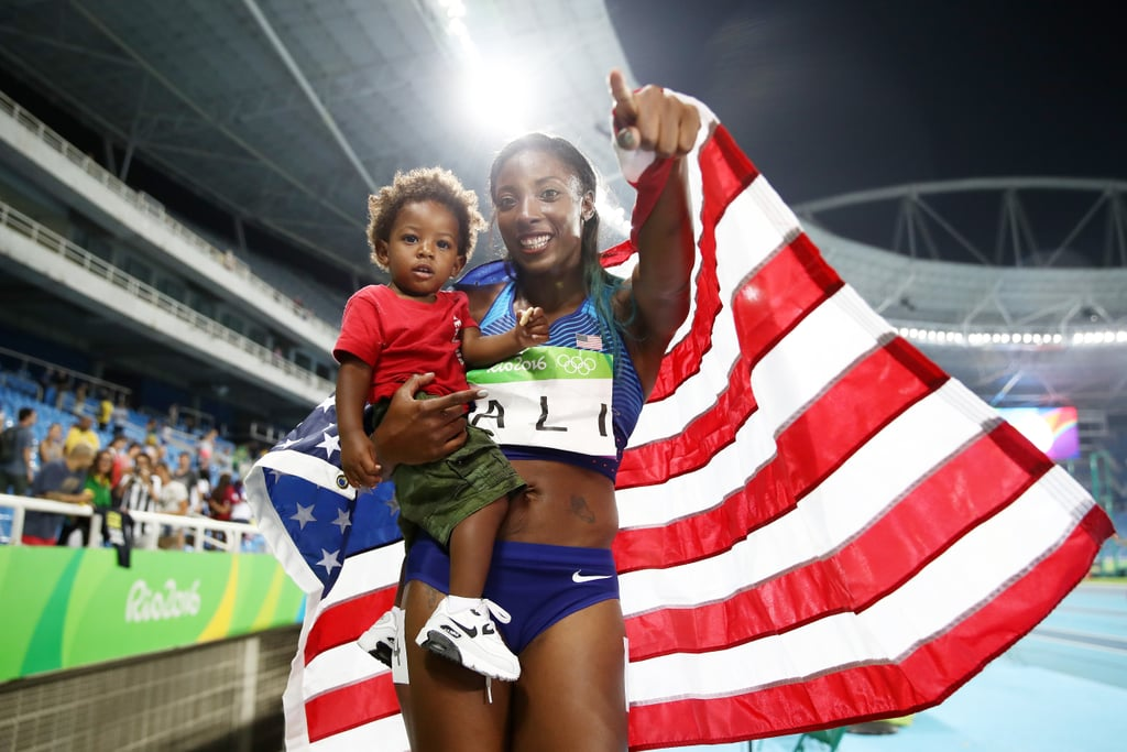 Nia Ali and Son Titus at the Summer Olympics 2016