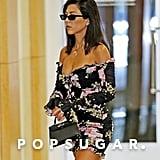 Kourtney Kardashian Black Floral Off the Shoulder Dress