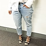 This look (minus the heels, of course) was borrowed from the boys. Boyfriend jeans and a loose-fitted shirt, you can't get more comfy than that.