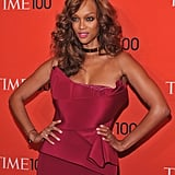 Tyra Banks struck a pose on the red carpet of the Time 100 gala in NYC.