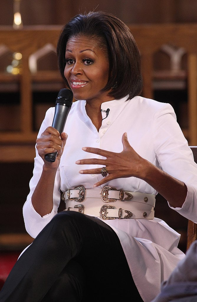 Michelle rocked a fierce Alexander McQueen outfit for an appearance at Oxford University.