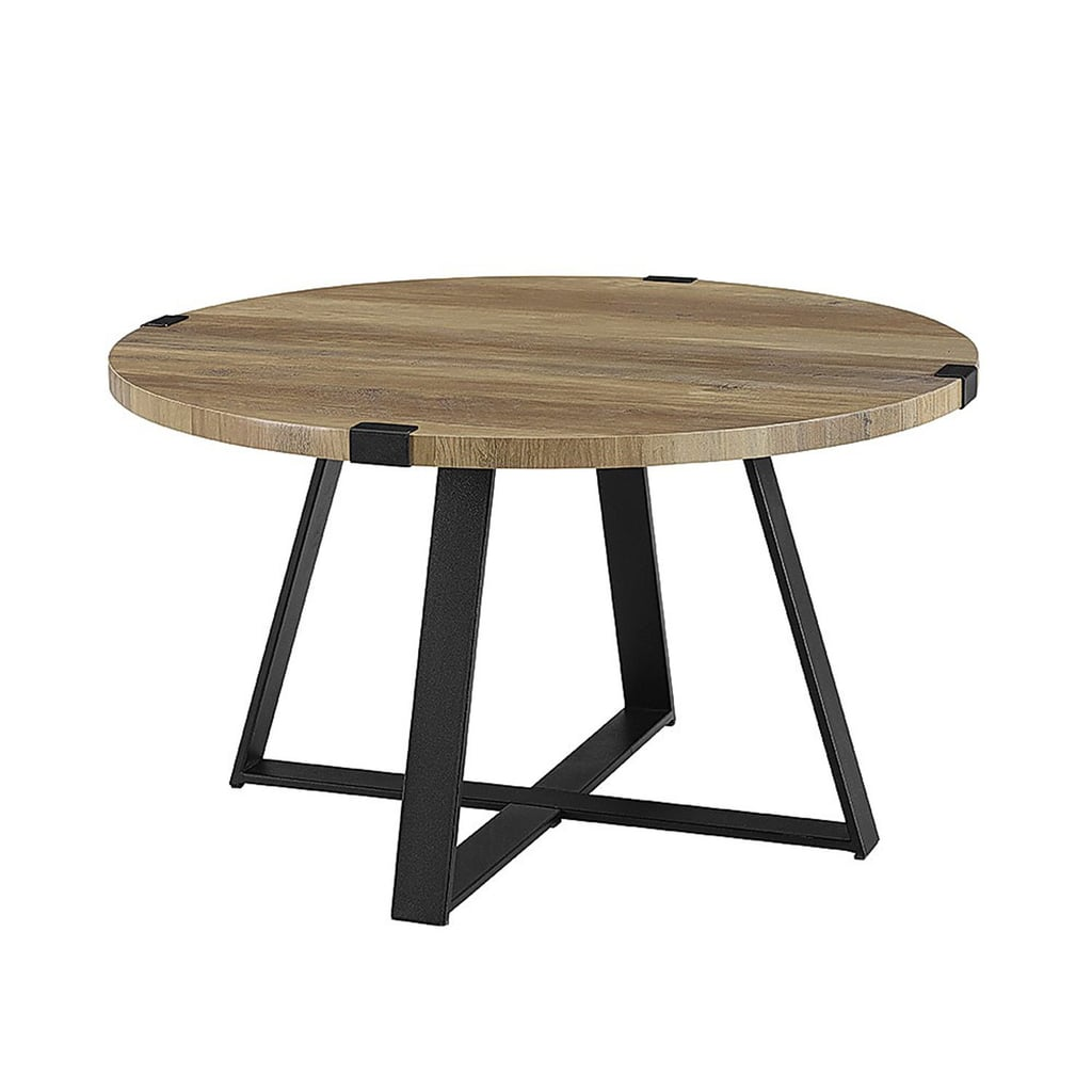 Rustic Oak Metal Wrap Round Coffee Table Best Small Space