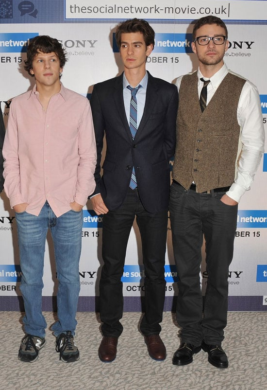 Pictures of Justin Timberlake, Andrew Garfield, and Jesse Eisenberg Promoting The Social Network in Spain and London