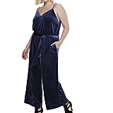 Velvet Wide Leg Jumpsuit in Blueprint