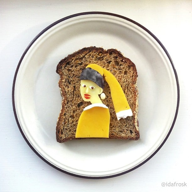 "As part of her Art Toast Project, food artist Ida Skivenes reinvents classic artworks using food on a piece of toast (such as this one modeled after ""The Girl With the Pearl Earring""). Check out her Instagram account for more and get lost in her amazing work.  Source: Instagram user idafrosk"