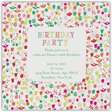 Garden Party Unique Birthday Party Invitations For Kids