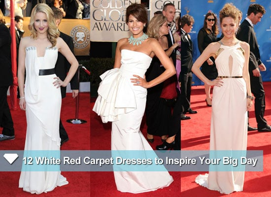 Celebrities wearing wedding inspired white dresses on the red celebrities wearing wedding inspired white dresses on the red carpet junglespirit Image collections