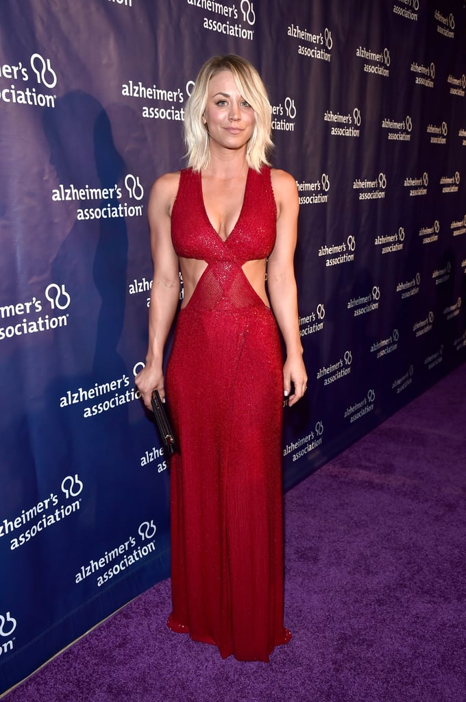 """On Wednesday, Kaley Cuoco hit the red carpet for the Alzheimer's Association's """"A Night at Sardi's"""" benefit in Beverly Hills, and we couldn't ignore the fact that she looked smokin' hot. On top of turning up the heat in a supersexy cutout dress, Kaley gave us yet another peek at her enviable abs, leaving us all at a loss for words. Before making her way inside the Beverly Hilton Hotel, she met up with her ex-boyfriend and The Big Bang Theory costar Johnny Galecki, as well as Laurie Burrows Grad, who chaired the event benefitting the Alzheimer's Association.  Kaley's latest appearance comes on the heels of a busy couple months for the star. After Kaley grabbed headlines for her night out with Sam Hunt, she made an appearance on The Ellen DeGeneres Show, and most recently, she opened up about her recent split from husband Ryan Sweeting in Cosmopolitan's latest issue. Read on to see more of Kaley's sexy night out, and then watch her channel her inner Britney Spears on Lip Sync Battle."""