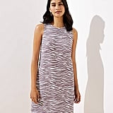 Loft Zebra Linen Blend Pocket Dress