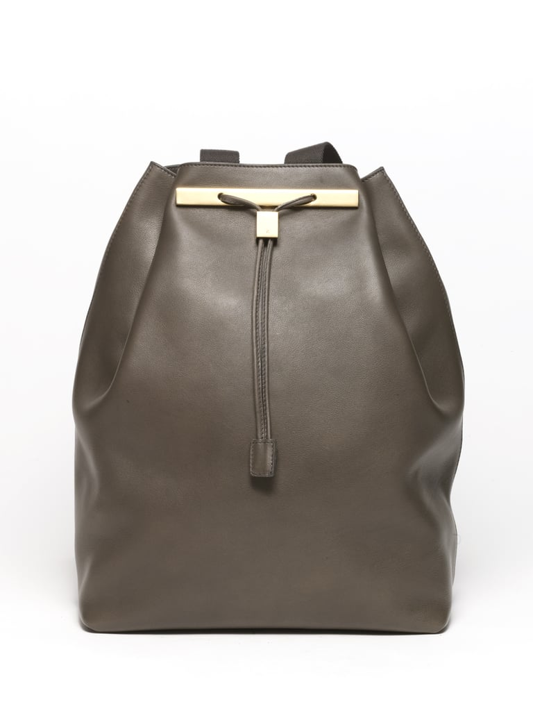 Drawstring Calfskin Backpack in Grey