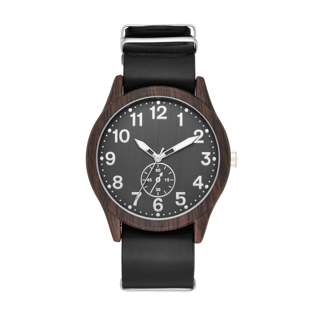 Men's Wood Finish Field Strap Watch
