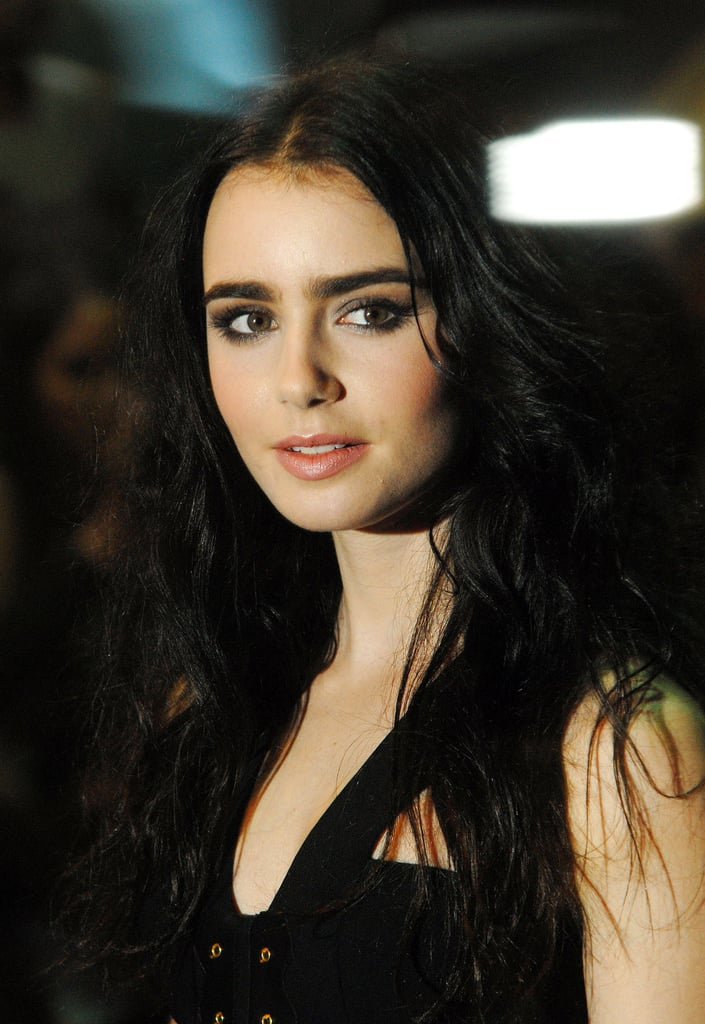 lily collins in black at the abduction premiere in london