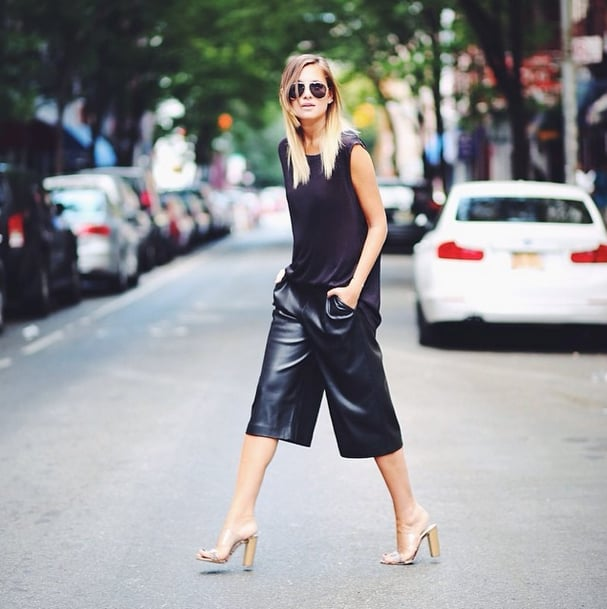 What look doesn't benefit from a little extra oomph with the addition of leather? Go for a minimal outfit in culottes and a cotton tee, and flatter your figure with a tall wedge heel. Source: Instagram user weworewhat