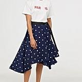 H&M Wide-Cut Wrap-Front Skirt
