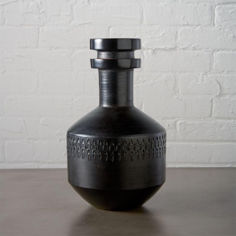Renata: Smoke Stack Black Vase